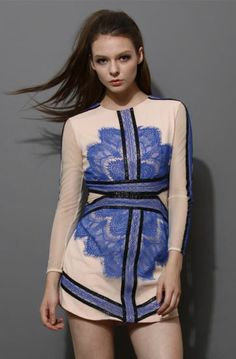 Blue Long Sleeve Contrast Eyelash Lace Mesh Pencil Dress  US$55.73 http://www.mymegaonlinemall.com/