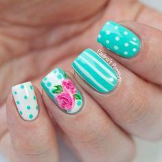 15 Lindos Diseños de Uñas con Puntos y Rayas - Manicure