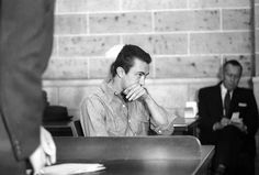 Richard Eugene Hickock in court during his trial, with co-accused Perry Smith, for the murders of four members of the Clutter family. Famous Murders, In Cold Blood, Serial Killers, True Crime, Book Presentation, Harper Lee, Clutter, Interesting Faces, Trials