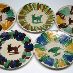 vintage OAXACA pottery mexico 5 cups  and saucers by jumpinacrater