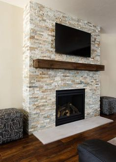 Excellent Screen ledger Stone Fireplace Ideas Airborne dirt and dust and also dirt could go undetected on the brighter aging involving natural stone fireplaces weighe Ledger Stone Fireplace, Stone Fireplace Surround, Two Sided Fireplace, Natural Stone Fireplaces, Fireplace Shelves, Brick Fireplace Makeover, Rock Fireplaces, Home Fireplace, Fireplace Remodel