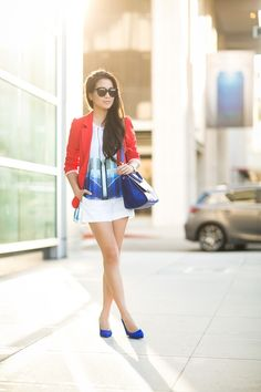 Summer colors :: Red blazer & Blue prints : Wendy's Lookbook