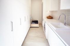 Galley Laundry photographed by Michelle Jarni Laundry Room Design, Laundry Rooms, Multipurpose Room, Interior Decorating, Interior Design, Wet Rooms, Murphy Bed, Cool Kitchens, White Kitchens