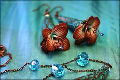 beautiful flower earrings made with polymer clay by maevsky