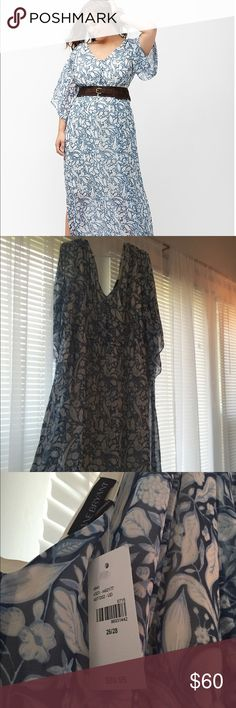 """Lane Bryant Boho Maxi Dress. Gorgeous floral print ITEM #225114 POLYESTER MACHINE WASH IMPORTED LENGTH: 58"""" SIZE: 26 / 28 Boho-beautiful maxi dress gives your free spirit room to roam with a floor-skimming length and romantic vine print. Offering an easy, stretchy fit for pull-on style and all-day comfort, it flatters curves with a V-neck and back, elastic waist and flowing kimono sleeves. Fully lined. Lane Bryant Dresses Maxi"""
