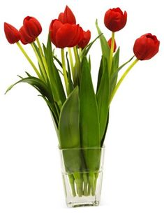 """10"""" Tulips in Vase, Red $125.00"""