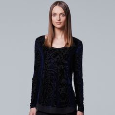 Women's Simply Vera Vera Wang Velvet Burnout Top, Size: Medium, Blue (Navy)