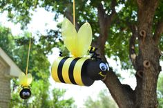 Coffee can bumblebees for PJ's Winnie the Pooh birthday party