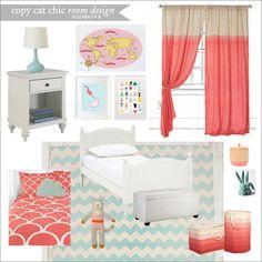 Copy Cat Chic Room Designs - Elizabeth B. Tween room using #coral and #aqua for $1,200