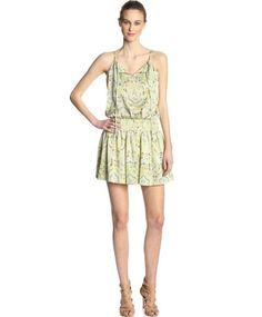 Short casual sunlit Deco Paisley Juicy Couture summer dress 2014 with elastic waistband