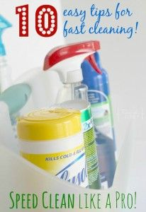 10 easy tips for speed cleaning your home. There are some good ones that really make a difference!