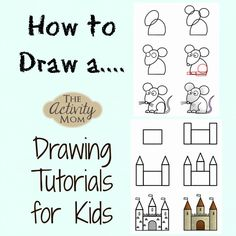 How to Draw Animals, Buildings, and People A collection of drawing tutorials for kids  #howtodraw #kidsdrawing #drawingforkids #tutorials #kidsactivities