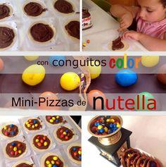 Ideal esta Receta para hacer con niños o para soprenderles un día especial. Sencillas de preparar y ¡¡buenísimas!!!!!!!!!!!!. Estas Mini-Pizzas de Chocolate las hice…