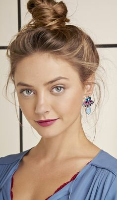 Swarovski crystal earrings with preciosa glass stones and 14k gold plated brass