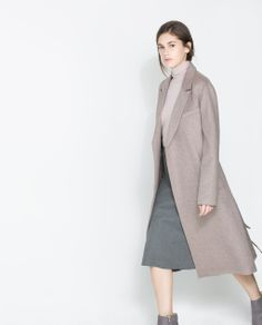 Image 3 of COAT WITH LAPELS AND BELT from Zara