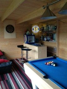 Sarah's log cabin really is fully furnished, it looks like the ideal chill out s. - Sarah's log cabin really is fully furnished, it looks like the ideal chill out spot! Home Bar Rooms, Diy Home Bar, Bars For Home, Man Cave Shed, Man Cave Home Bar, Man Shed, Cabin Interior Design, Shed Interior, Summer House Interiors