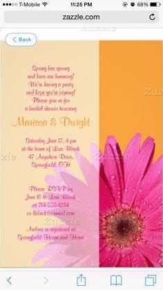 Pink orange invitation
