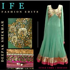 Turquoise Green & Antique Gold Embroidery