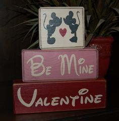 NEW Valentine's Day Blocks Be Mine Mickey by SimpleBlockSayings, $26.95