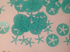 FREE SHIPPING 200 glitter turquoise/ sea foam star fish and sand dollar stickers- beach wedding, customize colors, table decoration on Etsy, $9.29 AUD