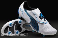 Puma Football Boots - Puma V1.11 SG - Soft Ground - Soccer Cleats - White-Black-Dresden Blue