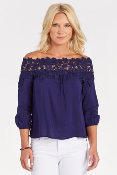 Lace detail, off shoulder, color are all great