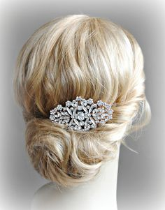 Rose Gold Hair Comb Crystal Bridal Comb Austrian by TheRedMagnolia