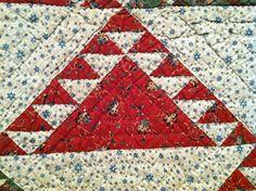 Detail Delectable Mountains quilt circa 1850