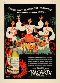 Bacardi Vintage 50/'s advertising poster reproduction.