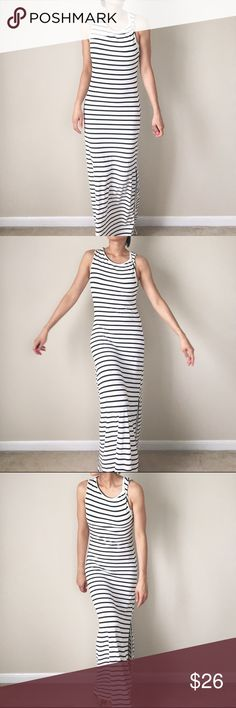 "Long Maxi Dress twisted one side shoulder strap White maxi dress with black stripes. One side shoulder strap twisted for an edge from the usual maxi dress. Full length 56"" bust 16"" measured flat lay. Good as new! Dresses Maxi"