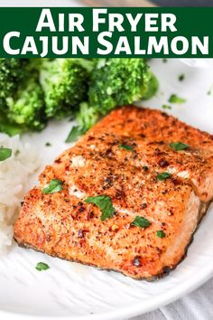 Making salmon is easy in the air fryer; It's done in less than 10 minutes! Air Fryer cajun salmon is juicy, flakey, healthy, and delicious! Best dinner! Spicy Recipes, Fish Recipes, Seafood Recipes, Great Recipes, Favorite Recipes, Healthy Recipes, Healthy Food, Recipies, Ways To Cook Asparagus