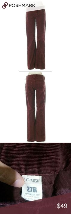 "J Crew burgundy corduroy pants J. Crew burgundy cords. Boot leg cut. Low rise waist.   Size 27R. 31"" Inseam.  Materials: 98% Cotton, 2% Spandex  In very good condition.   #pakainin #jcrewpants #jcrewcords #burgundypants #burgundycords #burgundycorduroy J. Crew Pants Boot Cut & Flare"