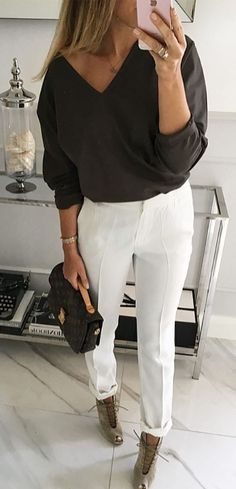 office style obsession blouse + pants + heels + bag