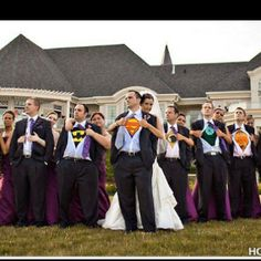 Normally I don't post wedding crap because God knows I won't be getting married anytime soon. However, I am in love with this idea. My dude needs to be Batman, though.