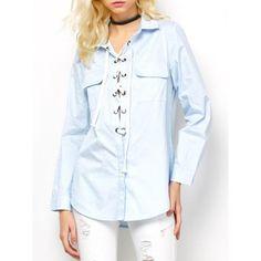 Long Sleeve Lace-Up Blouse