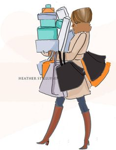 Shopping Girl 2017 cards Holiday Art for Women Quotes