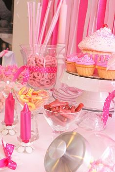 Sweet Treats Party: make it all about the candy and cupcakes, with lots of pink!