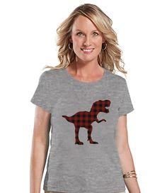 Women's Dinosaur Shirt - Buffalo Plaid Dino Grey T-shirt - Ladies Dinosaur Shirt - Plaid Dinosaur Shirt - Dinosaur Gift Idea for Her