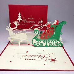 Pine noel card, Christmas greeting card, Xmas pop up card, Santa noel pop up card. when buy from Christmas Greeting Cards, Christmas Greetings, Pop Up, Pine, Place Cards, Santa, Merry, Xmas, Gift Wrapping