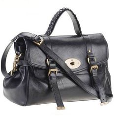 96831e0db1 Mulberry Alexa Black A smart satchel shaped handbag that has been made  elegant with fine leather and brass trimmings.