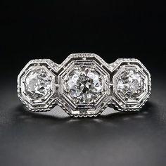 art deco engagement rings Art Deco Engagement Ring Image Courtesy of Three Stone Diamond Ring, Art Deco Diamond Rings, 3 Stone Rings, 3 Stone Engagement Rings, Deco Engagement Ring, Antique Engagement Rings, Antique Rings, Art Deco Schmuck, Schmuck Design