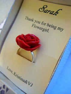 Flower girl ring. Too cute.