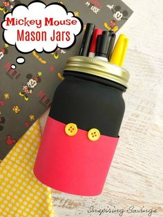 "If you have any Disney fans in your life, these Mickey Mouse Mason Jars are a must make! They are perfect for holding treats, supplies, using as a pencil jar, and can even be used as ""saving for Disney"" banks for the family! Easy Diy Crafts, Crafts To Make, Crafts For Kids, Upcycled Crafts, Pot Mason Diy, Mason Jar Crafts, Disney Diy, Disney Crafts, Disney Theme"