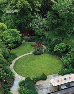 small garden with circular lawn modern - Garden Design Circular Lawns