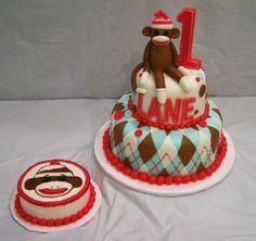 sock monkey and smash cake