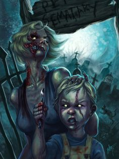 Proud Mother - Illustration of Rachel and Gage Creed from Pet Sematary by Alvaro León