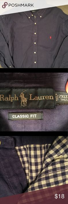 Ralph Lauren Long Sleeved Lined Button Up Shirt My husband wore this once and felt he is a 2XL, just not a 2XL Tall.   It has been washed once and is great condition.  It is a shirt that needs to be ironed before being worn. 100% Cotton. Ralph Lauren Shirts Casual Button Down Shirts