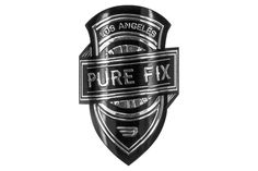 Our Pure Fix badge is made of a water resistant aluminum and comes with an adhesive backing to fit the steering tube of your bike perfectly! Designed by fellow