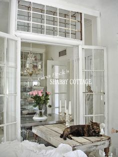 Gina Peck's Shabby White-Out Cottage Home!*!*! With a hint of Industrial!!!  AND Architectural Salvaged Windows used where WALLS once were!!!