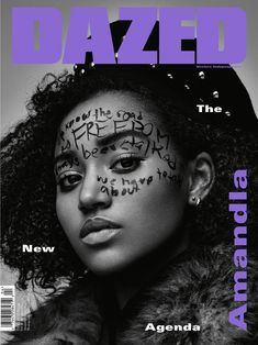 Actress Amandla Stenberg lands the fall 2015 cover story from Dazed Magazine, wearing phrases painted on her face inspired by activist Angela Davis. Magazine Design, Graphic Design Magazine, Magazine Wall, Black Magazine, Girls Magazine, Magazine Photos, Love Magazine, Magazine Layouts, Hair Magazine
